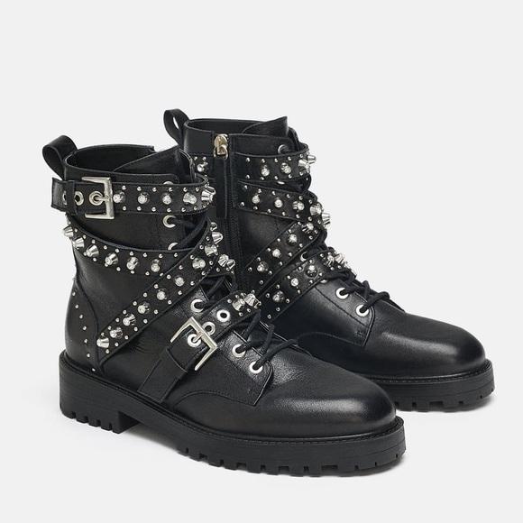 New Zara Leather Jeweled Studded Moto